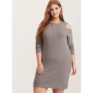 Torrid French Terry Cold Shoulder Sweatshirt Dress